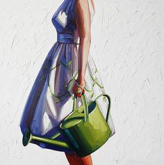 "kelly reemtsen ""watering can"" 2009 oil panel 36 x 36"