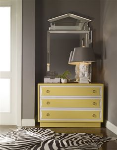CC06D - Make It Yours Bedroom - Prosser Three Drawer Chest. Combination Finish: Sherwin Williams June Day SW6682; Pure White on outside of ribbon design; Flat Pristine Sheen. Face: Ribbon. Hardware: Small Ring in Satin Brass in two columns.