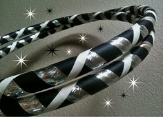 Stargaze Dance & Exercise Hula Hoop COLLAPSIBLE or STANDARD black and white silver rainbow. $21.50, via Etsy.