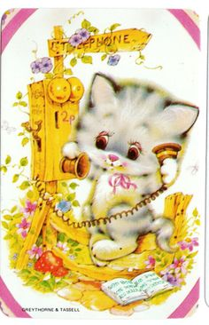 vintage SWAP CARDs 1970s blank back CUTE CATS KITTENs calling a friend