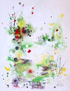 Au bord de l'étang, acrylique et encres sur papier BFK Rives,, 38 x 30 cm, $280,  par Suzanne Lavigne Rives, Suzanne, Oeuvre D'art, Les Oeuvres, Abstract, Artwork, Painting, Ink, Paper