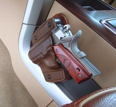 Car Holster With Mounting Kit - All Leather Gun Holster   Texas Custom Holsters