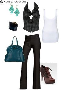 Sexy chic look (Vest & Black pants)-This look is a strong look that is very fitted and sexy!!