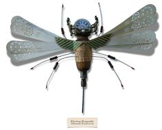 Fleeting Dragonfly (Odonata evanescent) - The Litter Bug Series, Found Object Insect Sculptures by Mark Oliver