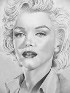 Dessin ©1990 par Corinne Morange -  Dessin, Portraits, portrait star acteur actrice marilyn monroe dessin corinne morange