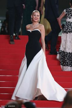 "5193dcb34 gucci: ""Blake Lively wore a Gucci Premiere black and white silk crepe gown  during the opening ceremony of the 2014 Cannes Film Festival."