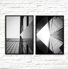 Set of Two Prints Architecture Photography Black White