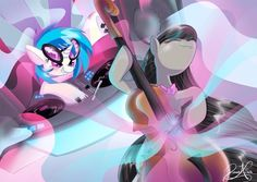 Making Music Awesome pic of Vinyl and Octavia playing a concert together! #MLPFIM #VinylScratch #OctaviaMelody #brony