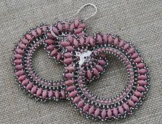 pink earrings victorian earrings beaded earrings hoop