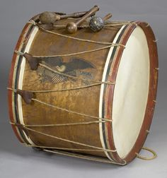 Civil War Eagle Painted Bass Drum attributed to 7th Wisconsin, Iron Brigade.