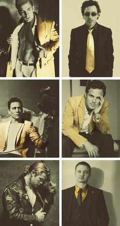 """""""Avengers"""" cast, in gold. What a good looking bunch of awesome actors dripping with talent."""
