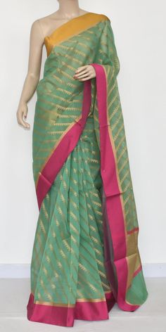 Pista Green Banarasi Kora Cot-Silk Handloom Saree (With Blouse) Ganga Yamuna Border 16137