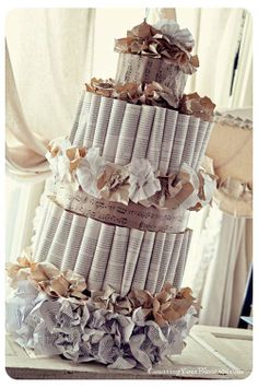 Paper Wedding Cake - this would be a cute centerpiece for a bridal shower