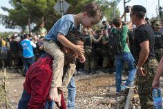 Police block migrants at the Macedonian-Greek border near Gevgelija, Macedonia, 2015.