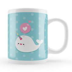 Cute Whale Mug, Kawaii narwhal character mug, sweet birthday gift, colorful unique mugs UK, character art gift, narwhal lover present,