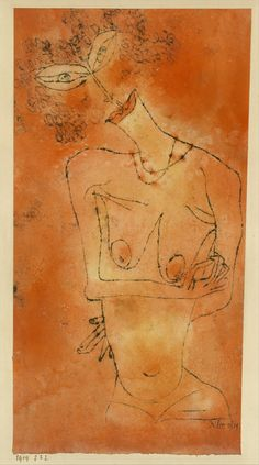 Lady Inclining Her Head by Paul Klee. Watercolor and transferred printing ink on paper mounted on cardboard.