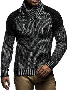 Leif Nelson LN5235 Men's Knitted Sweater Quilted Biker - - Small: Amazon.co.uk: Clothing