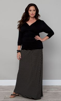 Chameleon Convertible Skirt and Dres Black and Cream Stripe (Womens Plus Size) plus size,  plus size fashion plus size appare