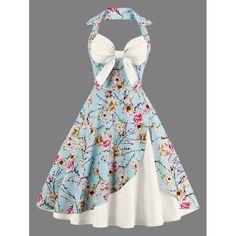 Halter Floral Print Pin Up Dress - OFF WHITE L