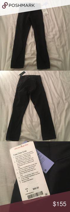 Lululemon Free Flow Crop NWT. Size 4. Black.    • no trades • offers welcome • bundles! •                    • email on my about • • all lulu purchases ship in a small lulu bag • lululemon athletica Pants Ankle & Cropped