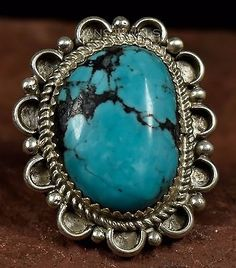 Gorgeous-Stone-HOSKIE-YAZZIE-Navajo-Spiderweb-TURQUOISE-Sterling-Ring-Sz-5-5