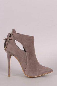 Shoe Republic LA Back Lace-Tie Stiletto Boots 4 Colors