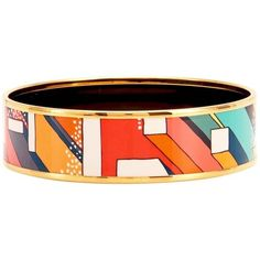 Preowned Hermes Orange Futurisme Printed Gold Enamel Bangle 70... ($775) ❤ liked on Polyvore featuring jewelry, bracelets, bangles, orange, gold hinged bracelet, bracelets bangle, enamel bangle bracelet, gold hinged bangle and gold jewelry