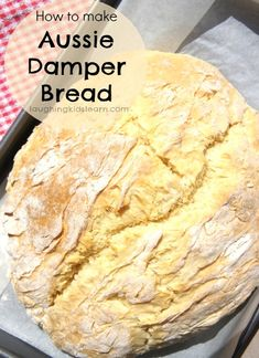 Simple recipe that teaches you how to make damper bread. This Australia Day get your children involved and use the simple ingredients needed to make damper from Laughing Kids Learn(Baking Bread With Kids) Camp Oven Recipes, Bread Recipes, Cooking Recipes, Cooking Ideas, Cake Recipes, Food Ideas, Pavlova, Aussie Food, Australian Food