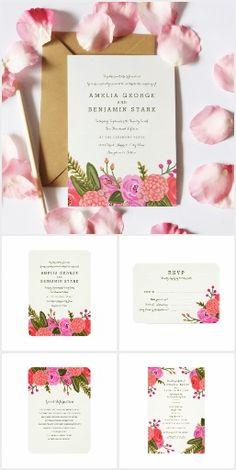 Vintage Garden Wedding Invitation Set Collection | pink, red, coral