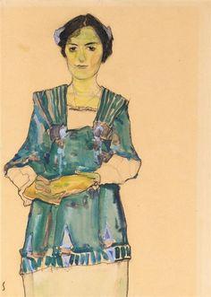 Egon Schiele, MÄDCHEN MIT GESTREIFTER BLUSE (GIRL WITH STRIPED BLOUSE)