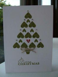 Julkort gran m hjärtan