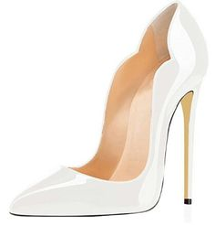 a63947695285 Stunning scalloped details on this white high heel women s shoe. This shoe  is perfect for