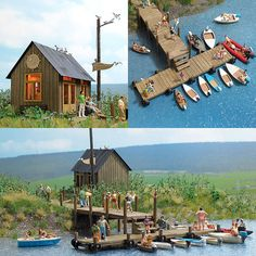 HO Busch 1 87 Boat Rental Building Kit with Wharf for Lake Diorama 1065 | eBay