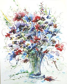 Original watercolor painting of Beautiful Bouquet of wild