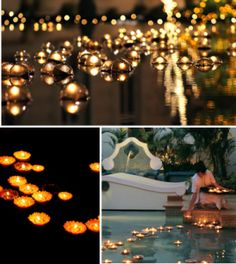 beautiful backyard wedding...floating candles in the pool!