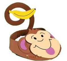 Monkey hat to make with or for your kids. With template Diy For Kids, Crafts For Kids, Arts And Crafts, Easy Crafts, Blog Da Tia Ale, 5 Little Monkeys, Hat Template, World Book Day Costumes, Birthday Charts