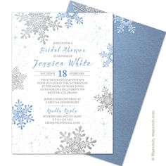 117 best bridal shower stationery and ideas images on pinterest in lapis blue silver grey and white winter snowflake printed wedding bridal shower invitation comes filmwisefo