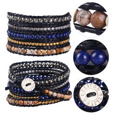 Kelitch Crystal Agate Lapis Lazuli 5 Wrap Bracelet Leather Bangle Chain Jewelry #Kelitch #BangleBeaded