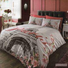 Paris Flower Duvet Cover Quilt Bedding Set Single Double King Ebay
