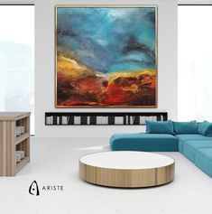 Extra large abstract landscape painting, fully handmade, painted with acrylic paints on canvas, varnished, signed and dated. Free shipping worldwide, paintings come wrapped in a tube. Title: The Earth has been born Material & Medium: canvas, acrylic paints, varnish Colors: shades of blue, red,