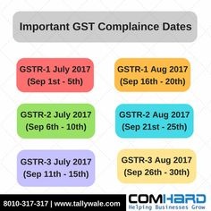 Remember!!! Important GST Compliance Dates Here check the GST Returns Date & be ready for it. Ready with GST Compliant Tally:-https://goo.gl/Xa76tH #GST #Tax_Returns #GST_Returns #GST_Software #TallyERP9 #HappyMonday #Tallywale