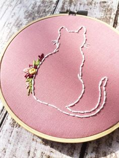 Cat embroidery Floral hoop art Custom needlepoint by ThreadTheWick