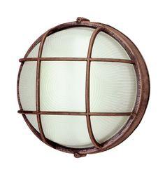 Trans Globe Lighting PL-41515 RT Rust Outdoor Round Bulk Head Light Bel Air Lighting