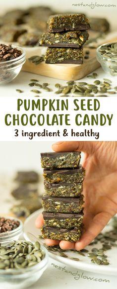 3 Ingredient Pumpkin Seed Chocolate Candy - Vegan, Nut-free, Paleo and Healthy via @nestandglow