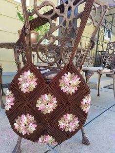 Items similar to Vintage Crochet Granny Square Hobo Bag on Etsy Crochet Handbags, Crochet Bags, Crochet Square Patterns, Crochet Granny, Vintage Crochet, Hobo Bag, Straw Bag, Diy Bags, Shoulder Bag
