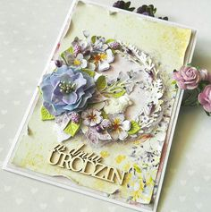 Birthday cadr with wreath  and paperflowers made with Studio 75 Violet Love paper collection #cardmaking #scrapbooking #papercraft