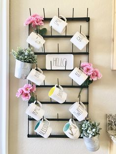 Added Spring decor to my Magnolia mug rack | Rae Dunn display