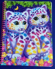 Lisa Frank Spiral Notebook Sasha Shanti Rainbow Leopard Cubs Cats Wide Ruled New #LisaFrank