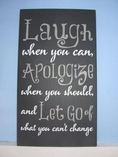 "The Rustic Shop - 12"" x 20"" Handmade Wood Sign -Laugh When You Can Apologize When You Should Quote Wall Decor - Rustic Home Decor,"