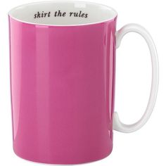 kate spade new york Say The Word Skirt The Rules Mug ($20) ❤ liked on Polyvore featuring home, kitchen & dining, drinkware, pink, hot coffee mug, porcelain tea mugs, hot tea mug, porcelain mugs and kate spade